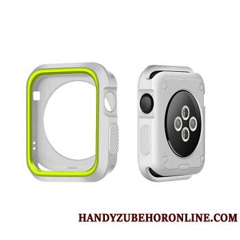 Etui Apple Watch Series 3 Silikone Bicolored Grøn, Cover Apple Watch Series 3 Beskyttelse Hvid