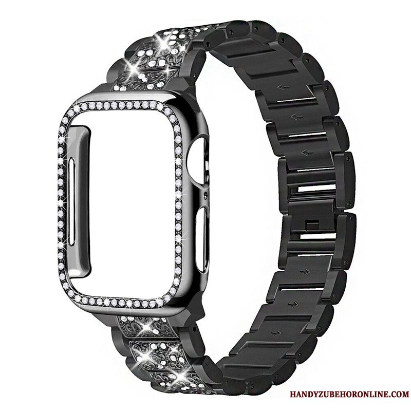 Etui Apple Watch Series 3 Strass Sort Bøde, Cover Apple Watch Series 3
