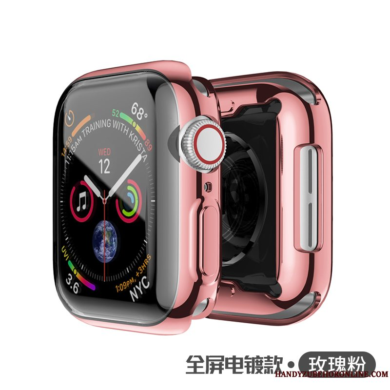 Etui Apple Watch Series 5 Blød Belægning Tynd, Cover Apple Watch Series 5 Silikone Lyserød