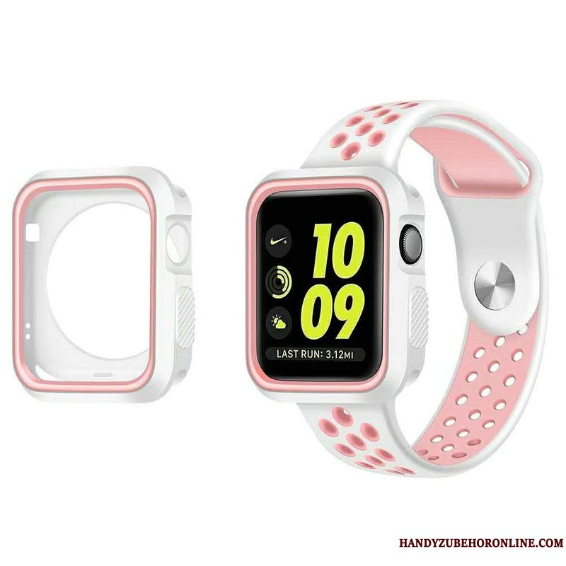 Etui Apple Watch Series 5 Silikone Sport Udstrålende, Cover Apple Watch Series 5 Beskyttelse Hvid