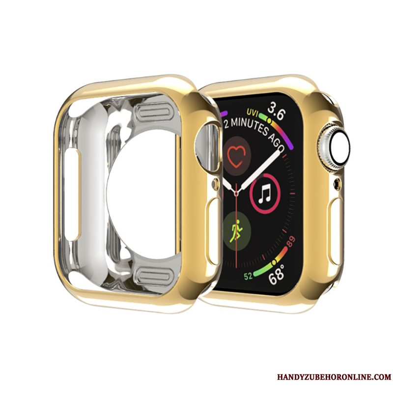 Etui Apple Watch Series 5 Tasker Guld Skærmbeskyttelse, Cover Apple Watch Series 5 Blød Ramme Tynd