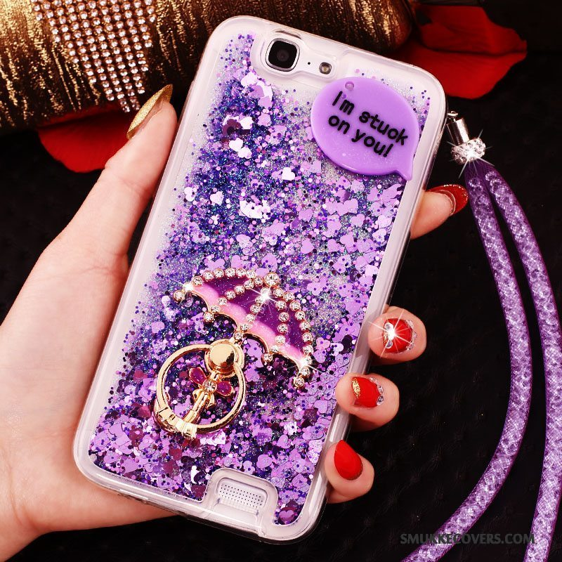 Etui Huawei Ascend G7 Strass Tynd Ring, Cover Huawei Ascend G7 Beskyttelse Trend Lilla