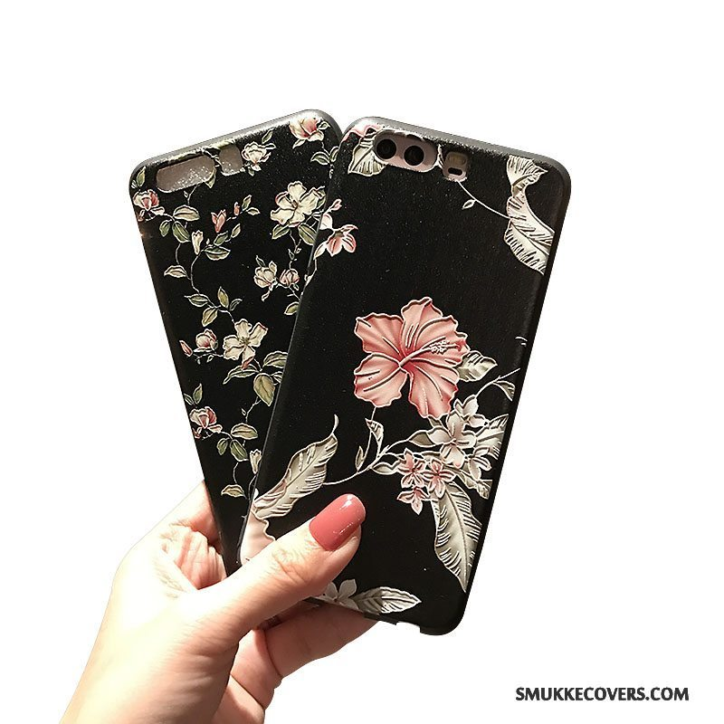 Etui Huawei P10 Plus Blød Lille Sektion Sort, Cover Huawei P10 Plus Relief Telefonnubuck