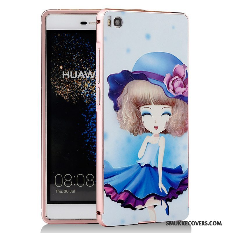 Etui Huawei P8 Cartoon Telefonblå, Cover Huawei P8 Metal Ramme