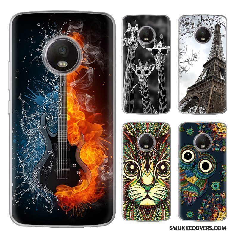 Etui Moto G5 Blød Sort Salg, Cover Moto G5 Cartoon Telefonny