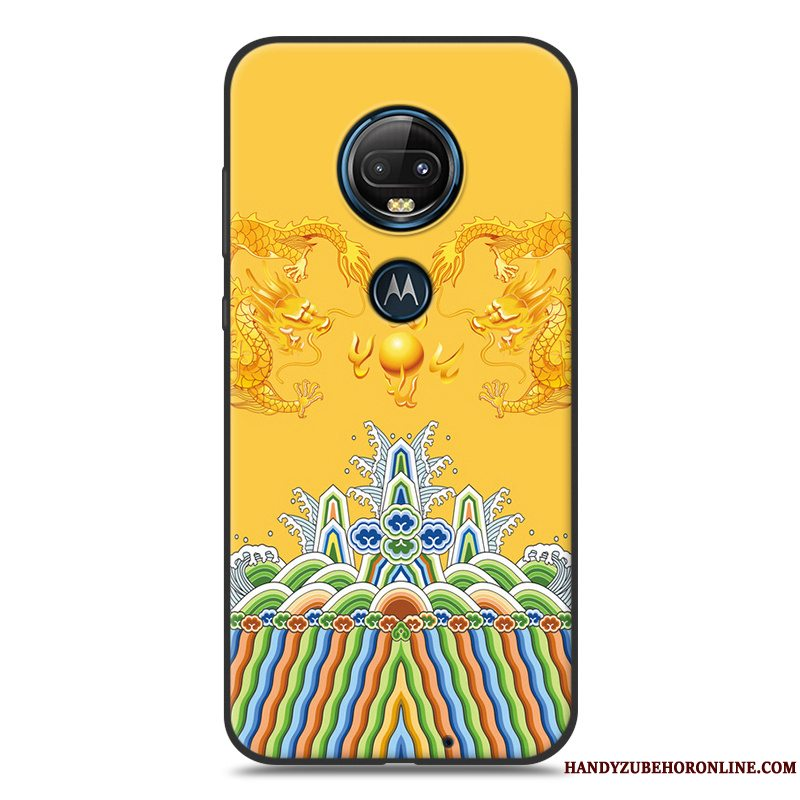 Etui Moto G7 Cartoon Telefongul, Cover Moto G7 Silikone Sort Nubuck