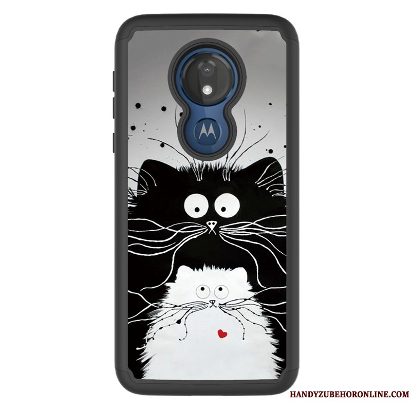 Etui Moto G7 Power Malet Klud Mønster, Cover Moto G7 Power Cartoon Anti-fald Sort
