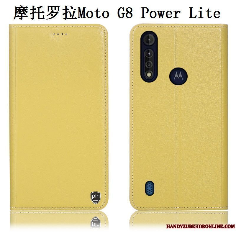 Etui Moto G8 Power Lite Læder Anti-fald Mønster, Cover Moto G8 Power Lite Folio Telefongul