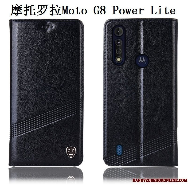 Etui Moto G8 Power Lite Læder Anti-fald Sort, Cover Moto G8 Power Lite Beskyttelse Mønster Telefon
