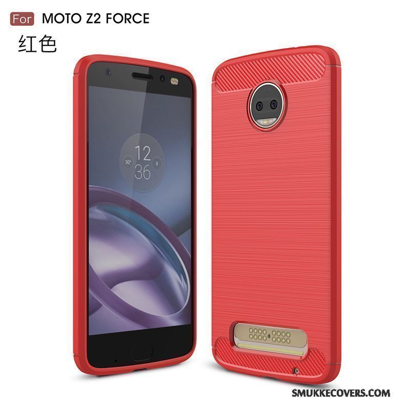 Etui Moto Z2 Force Edition Blød Rød Telefon, Cover Moto Z2 Force Edition Silikone Anti-fald Til
