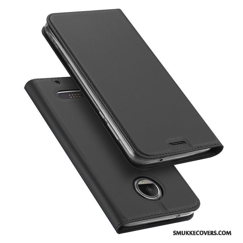 Etui Moto Z2 Force Edition Læder Kort Anti-fald, Cover Moto Z2 Force Edition Folio Sort Til