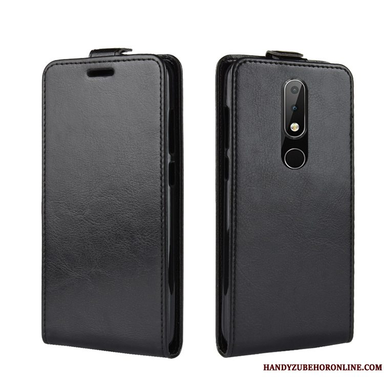 Etui Nokia 5.1 Plus Læder Telefonkort, Cover Nokia 5.1 Plus Folio Sort