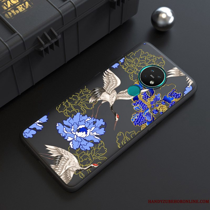Etui Nokia 7.2 Blød Trend Sort, Cover Nokia 7.2 Cartoon Nubuck Af Personlighed