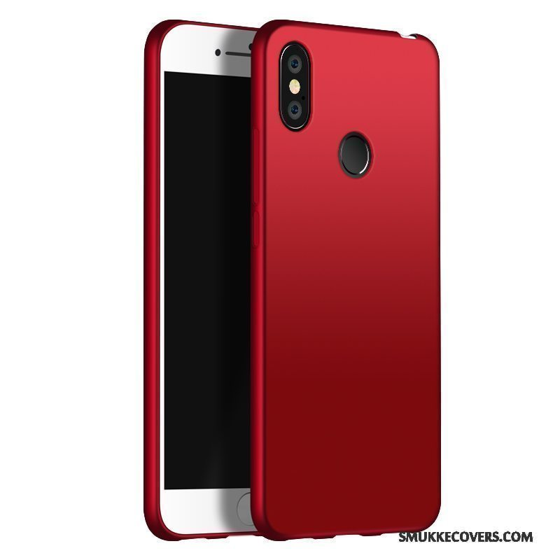 Etui Redmi Note 5 Silikone Solid Farve Anti-fald, Cover Redmi Note 5 Beskyttelse Simple Rød