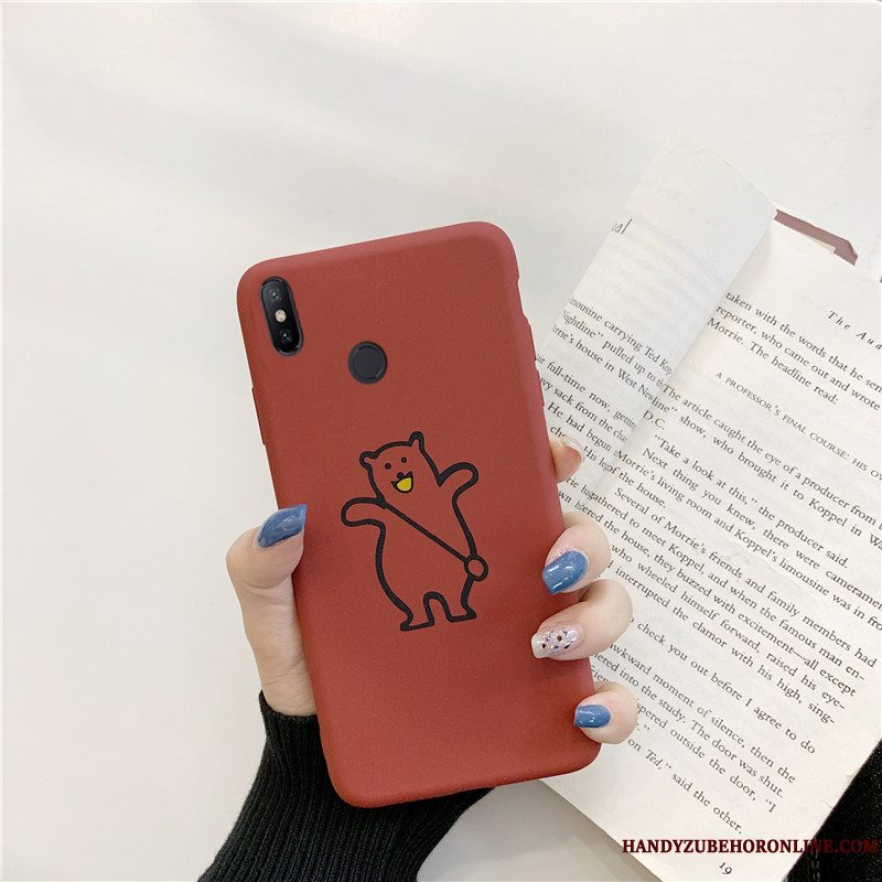 Etui Redmi Note 6 Pro Cartoon Bjørn Nubuck, Cover Redmi Note 6 Pro Tasker Lille Sektion Elskeren