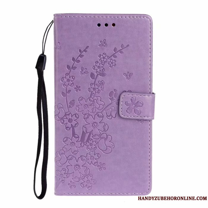 Etui Samsung Galaxy A51 Folio Plomme Blomst Lilla, Cover Samsung Galaxy A51 Support Korte Kort