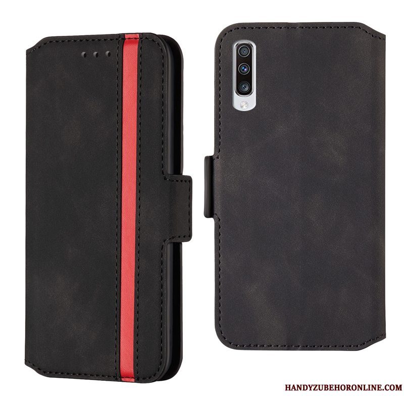 Etui Samsung Galaxy A70s Folio Telefonanti-fald, Cover Samsung Galaxy A70s Beskyttelse High End Sort