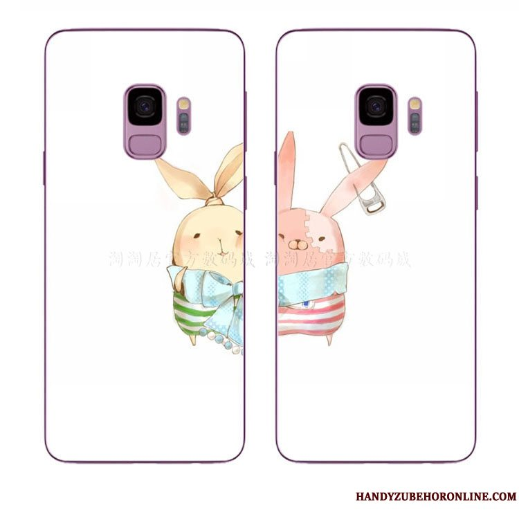 Etui Samsung Galaxy A8 2018 Cartoon Smuk Nuttet, Cover Samsung Galaxy A8 2018 Hvid Kanin