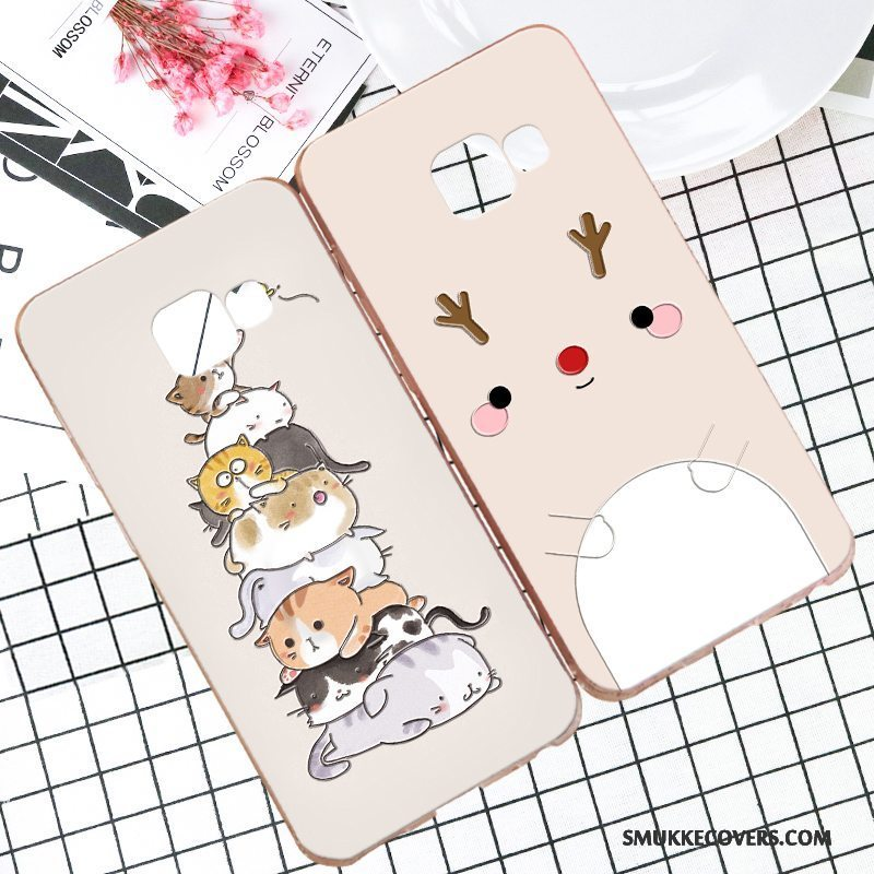 Etui Samsung Galaxy A8 Cartoon Hård Telefon, Cover Samsung Galaxy A8 Blød Khaki Anti-fald