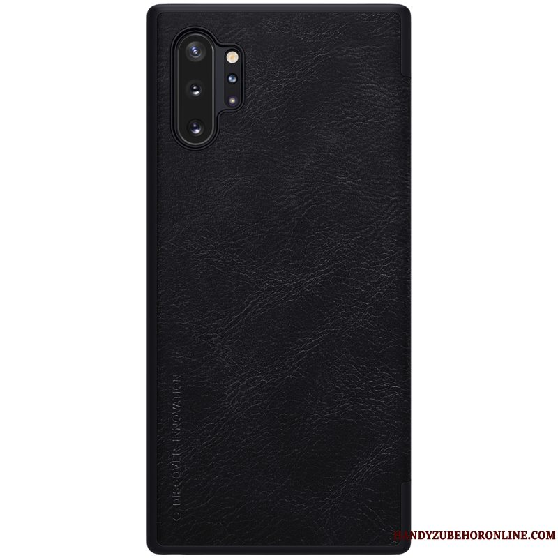 Etui Samsung Galaxy Note 10+ Beskyttelse Telefonsort, Cover Samsung Galaxy Note 10+ Læder Business Guld