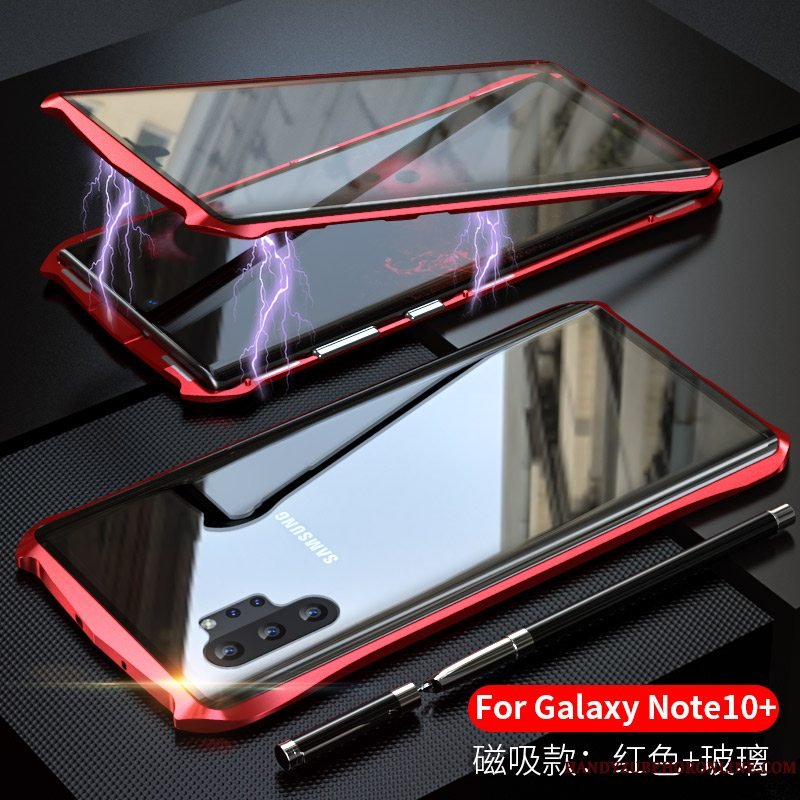 Etui Samsung Galaxy Note 10+ Metal Telefonramme, Cover Samsung Galaxy Note 10+ Beskyttelse Anti-fald Dobbeltsidet