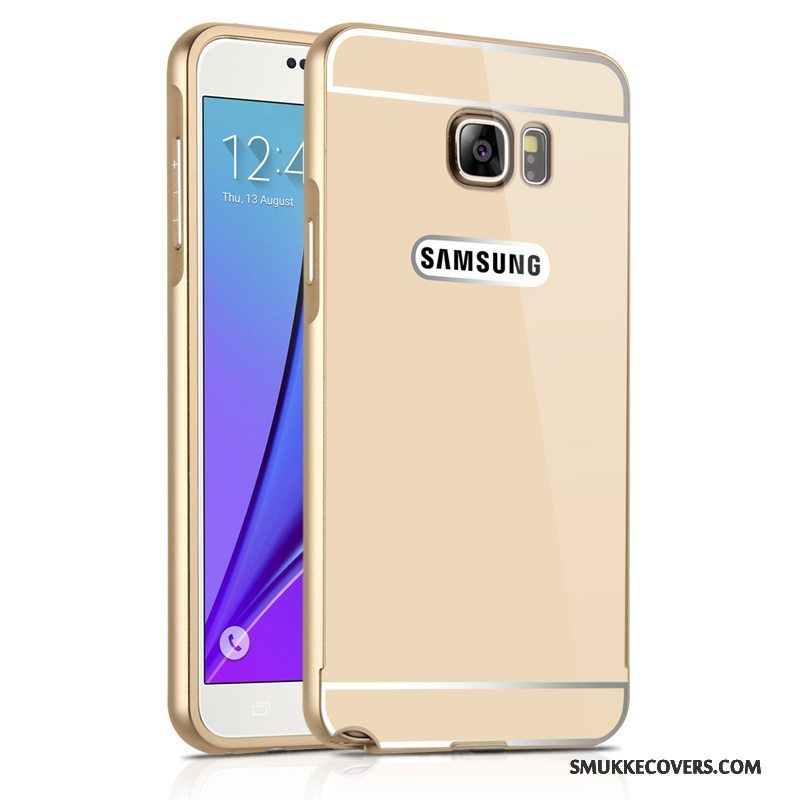 Etui Samsung Galaxy Note 5 Metal Spejl Anti-fald, Cover Samsung Galaxy Note 5 Beskyttelse Guld Ramme