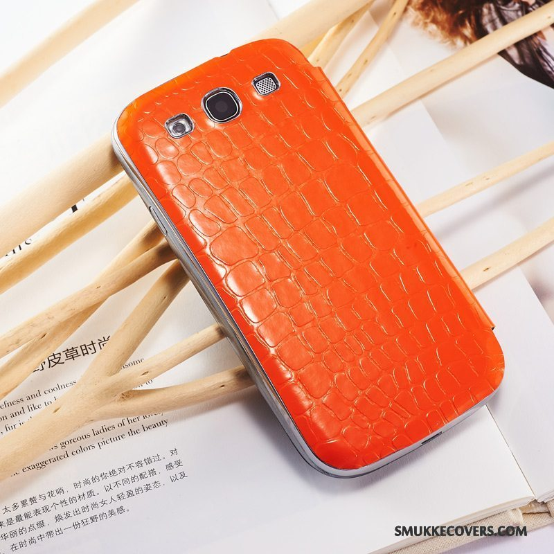 Etui Samsung Galaxy S3 Læder Orange Telefon, Cover Samsung Galaxy S3 Beskyttelse