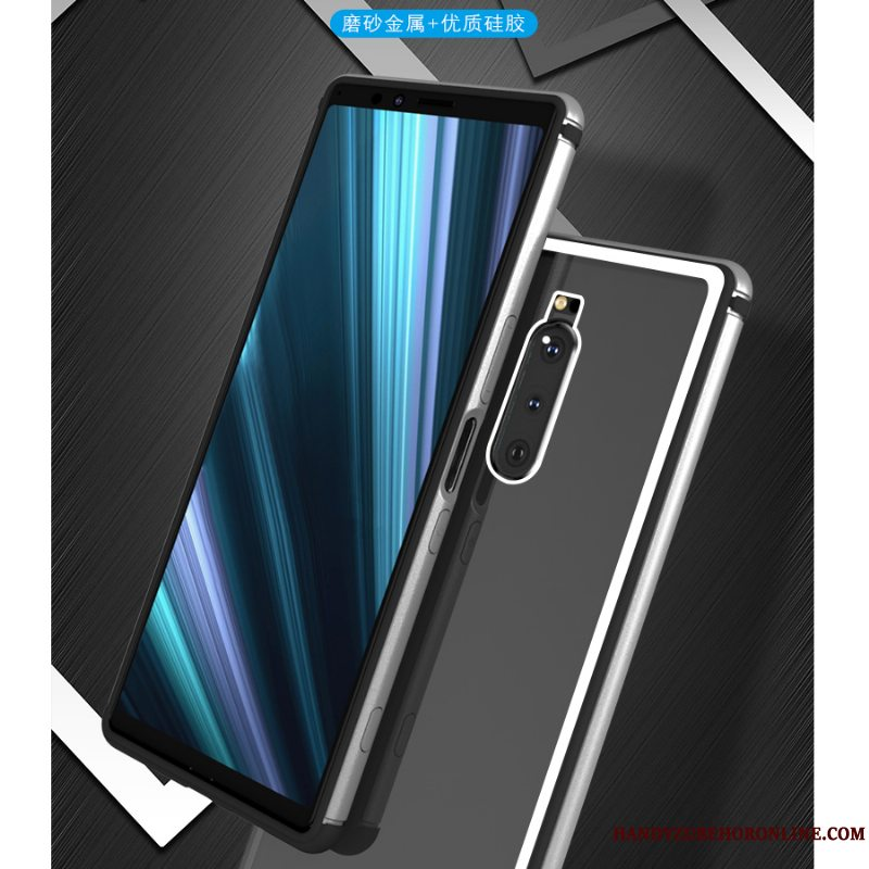 Etui Sony Xperia 1 Metal Gennemsigtig Glas, Cover Sony Xperia 1 Tasker Ramme Trend