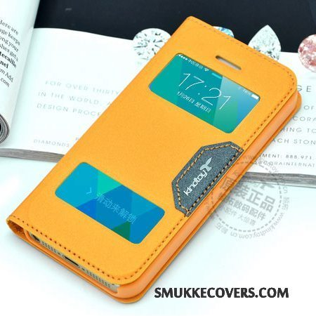Etui iPhone 5c Folio Telefonorange, Cover iPhone 5c Læder