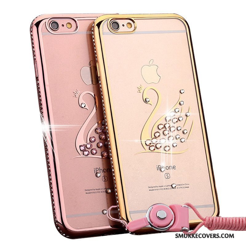 Etui iPhone 6/6s Plus Strass Telefonhængende Ornamenter, Cover iPhone 6/6s Plus Lyserød Guld