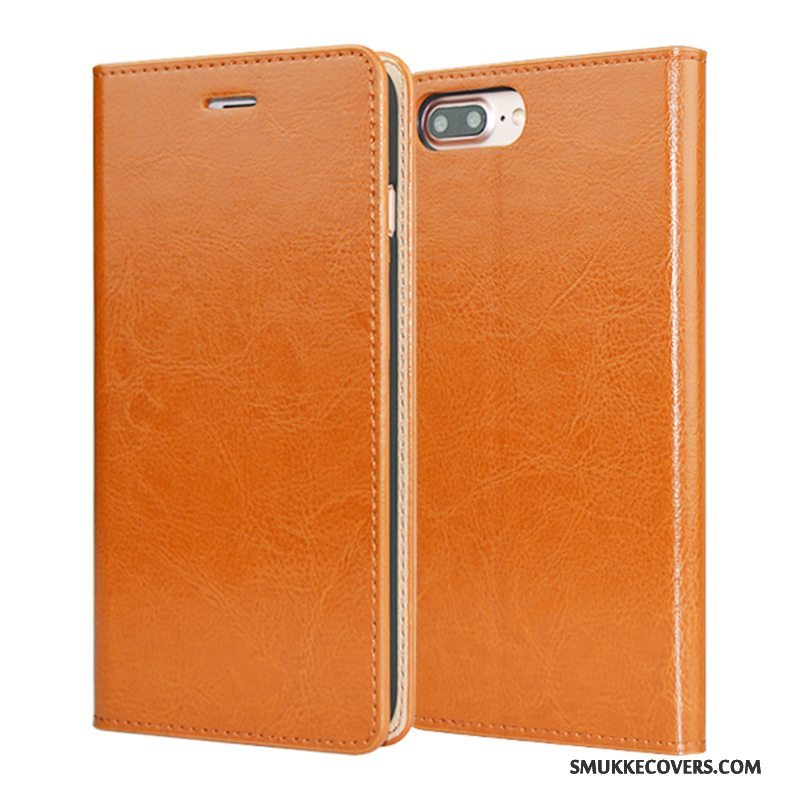 Etui iPhone 7 Plus Folio Orange Anti-fald, Cover iPhone 7 Plus Læder Kvalitet Telefon