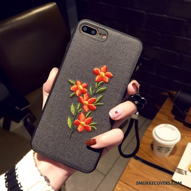 Etui iPhone 8 Plus Blød Blomster Broderi, Cover iPhone 8 Plus Beskyttelse Simple Hængende Ornamenter