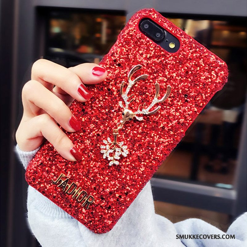 Etui iPhone 8 Plus Strass Telefonrød, Cover iPhone 8 Plus Luksus Lyse Net Red