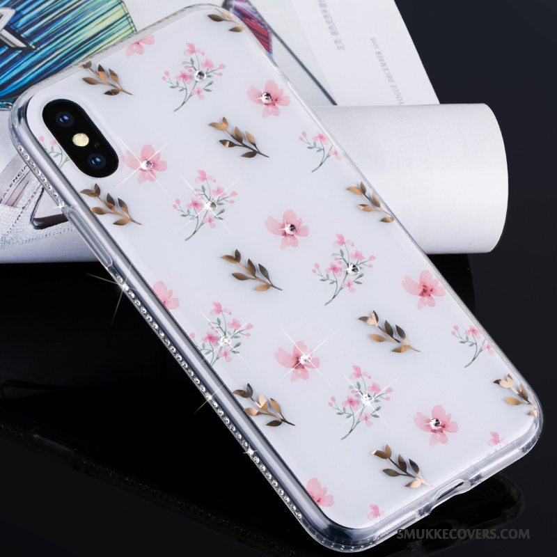 Etui iPhone X Strass Trendy Telefon, Cover iPhone X Silikone Ny Lyserød