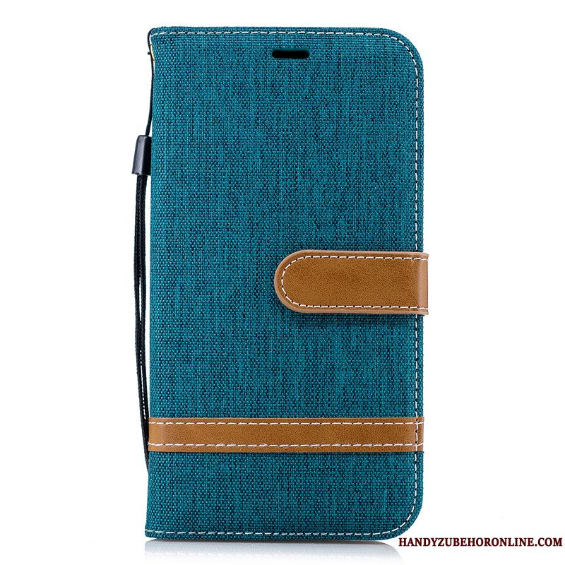 Etui iPhone Xr Folio Denim Grøn, Cover iPhone Xr Beskyttelse Kort Telefon