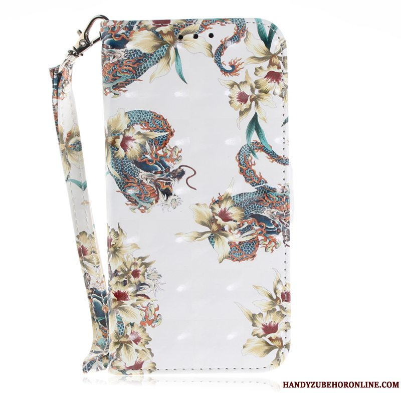 Etui iPhone Xr Læder Blomster Hvid, Cover iPhone Xr Folio Telefon